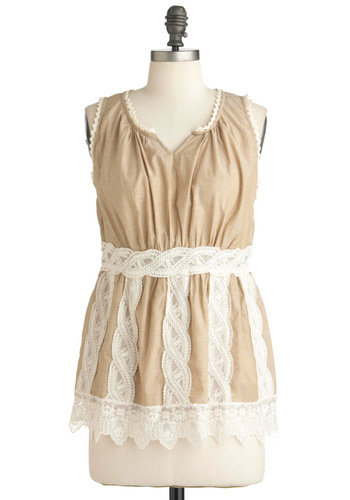 The Bluebirds Ballad Top in Tan - Tan, White, Solid, Lace, Scallops, Casual, Sleeveless, Mid-length, Cotton