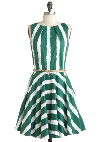 Luck Be a Lady Dress in Green Stripe - Mid-length, Green, White, Stripes, Exposed zipper, Pleats, Pockets, Party, A-line, Sleeveless, Belted, Cocktail, Cotton, Fit & Flare