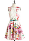 Luck Be a Lady Dress in Pink Paradise - Mid-length, White, Multi, Multi, Floral, Bows, Exposed zipper, Pleats, Pockets, Party, A-line, Sleeveless, Summer, Cotton