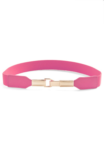 Pretty in Link Belt in Pink - Pink, Solid, 80s, Casual, Silver, Faux Leather