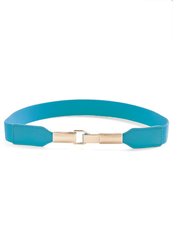 Pretty in Link Belt in Teal - Solid, Casual, 80s, Blue, Silver