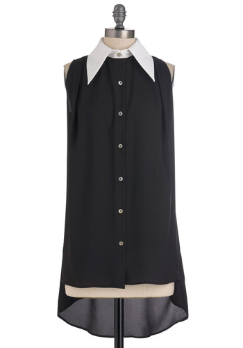 Mod Only Knows Tunic - Long, Black, White, Menswear Inspired, Sleeveless, 60s, High-Low Hem, Sheer, Button Down, Collared, Mod