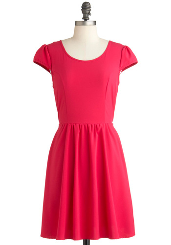 Everyday Dress-Up Dress - Mid-length, Red, Solid, Cutout, A-line, Short Sleeves