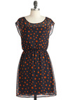 Star of Something New Dress - Mid-length, Red, Black, Party, A-line, Novelty Print, Cap Sleeves, Sheer
