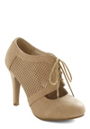 All Out on the Town Heel - Tan, Solid, Cutout, High, Lace Up, Faux Leather, Variation