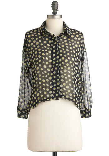 Each and Every Daisy Top - Short, Black, Yellow, White, Floral, Casual, Long Sleeve