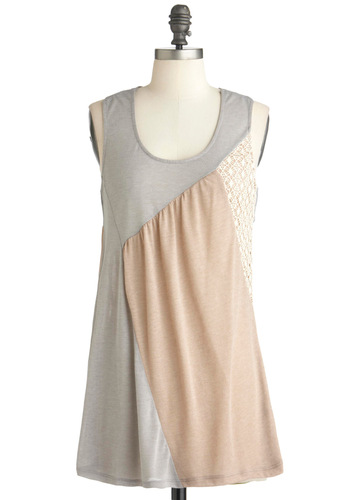 Craft Fair Chronicles Top - Tan / Cream, Lace, Casual, Racerback, Grey, Long