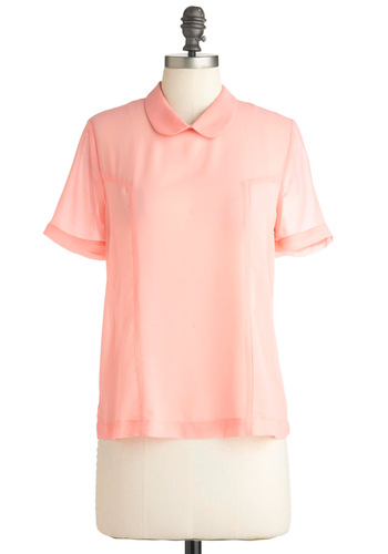 Blush Life Top - Mid-length, Pink, Solid, Peter Pan Collar, Short Sleeves, Vintage Inspired, 60s