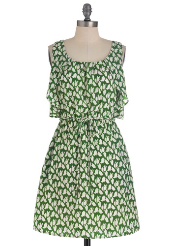Strategic Muse Dress - Mid-length, Green, White, Print, Ruffles, A-line, Tank top (2 thick straps)