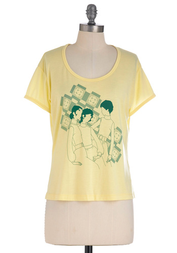 Anything Pose Top in Yellow - Mid-length, Yellow, Green, Casual, Short Sleeves