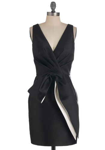 Jill Jill Stuart Symphony of Style Dress - Mid-length, Black, White, Solid, Bows, Pockets, Formal, Wedding, Sheath / Shift, Sleeveless, Cocktail, Holiday Party, V Neck, Tis the Season Sale