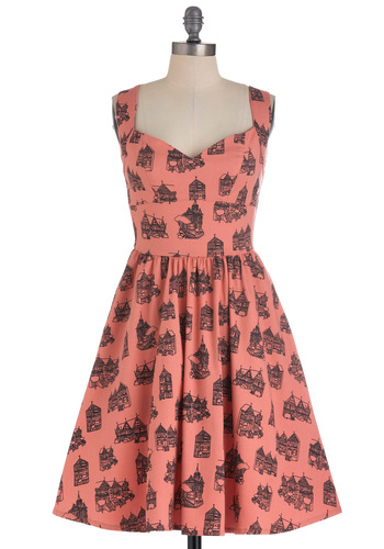 Westward Excursion Dress in Homes by Nooworks - Mid-length, Orange, Black, Pockets, Handmade & DIY, Sleeveless, Fit & Flare, Coral, Sweetheart