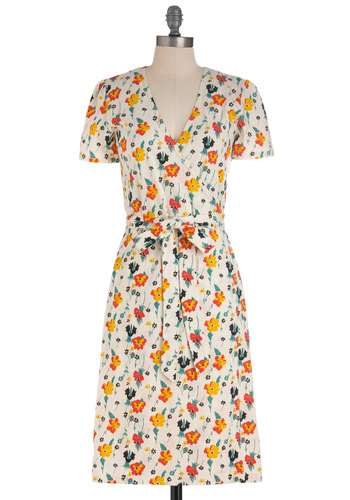 You Can Feel Freesia Dress by People Tree - Orange, Yellow, Blue, Floral, Short Sleeves, Spring, Long, Belted, Multi, White, Wrap, Eco-Friendly, Cotton, V Neck, International Designer