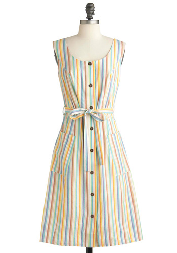 Candy Ribbons Dress by People Tree - Multi, Stripes, Casual, A-line, Spring, Long, Buttons, Pockets, Belted, Orange, Green, Blue, White, Vintage Inspired, Sleeveless, Handmade & DIY, International Designer