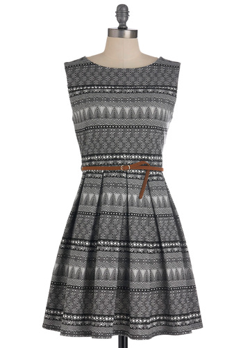 Tis a Shift to Be Simple Dress in Mosaic - Mid-length, Black, White, Print, Pleats, Party, Vintage Inspired, A-line, Sleeveless, Belted, Fit & Flare