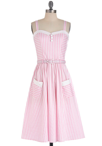Cotton Candy Stand Dress - Long, White, Stripes, Buttons, Pockets, Party, Vintage Inspired, A-line, Summer, Belted, Pink, 60s, Spaghetti Straps