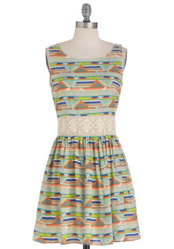 Yes You Canyon Dress in Green - Multi, Orange, Green, Blue, Tan / Cream, Print, Lace, Tank top (2 thick straps), Summer, Short, Yellow, Casual, Fit & Flare