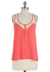 Lacy Day In Tank - Pink, White, Buttons, Casual, Racerback, Solid, Lace, Summer, Mid-length, Neon, Sheer, Coral