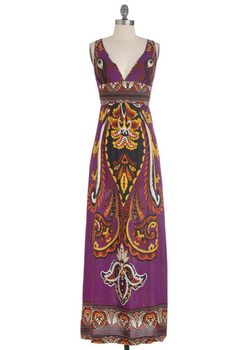 Beach Royalty Dress - Purple, Orange, Yellow, Black, White, Print, Casual, Maxi, Tank top (2 thick straps), Summer, Long, Multi, Sheer, V Neck, Beach/Resort