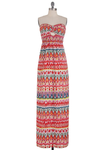 Kaleidoscope of Vision Dress - Multi, Print, Cutout, Casual, Maxi, Strapless, Summer, Multi, Sweetheart, Beach/Resort, Long