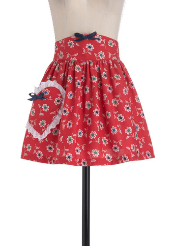 Once Apron a Time - Red, Green, Blue, White, Floral, Bows, Pockets, Eyelet