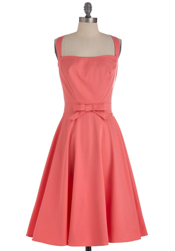 Little Bow Peep Dress by Bettie Page - Long, Pink, Solid, Bows, Buttons, Vintage Inspired, Spring, Fit & Flare, 50s, Tank top (2 thick straps), Coral, Daytime Party, Wedding, 60s