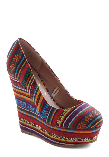 Colorful of Life Wedge - Wedge, Multi, Embroidery, High, Print, Platform