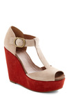 Foot in the Door Wedge by Lucky - Wedge, High, Colorblocking, Platform, Red, Tan / Cream, Party