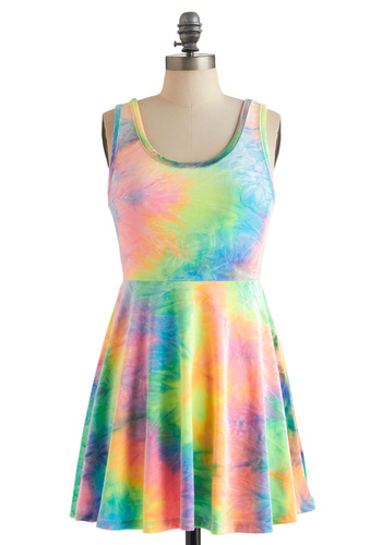 Rainbow to Go Dress - Short, Multi, Tie Dye, A-line, Tank top (2 thick straps), Summer, Multi, Casual, 90s