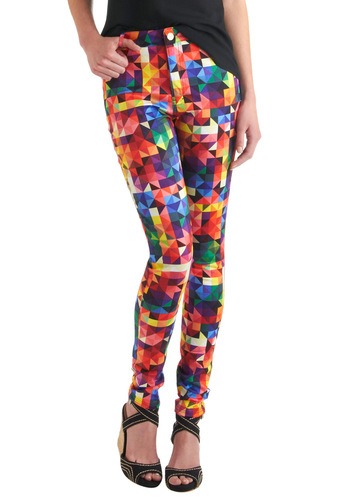 It's a Colorful Life Pants by Motel - Multi, Pockets, Skinny, Multi, Print, Party, Long, Girls Night Out