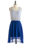 At Any Coast Dress - Mid-length, White, Stripes, Casual, Twofer, Tank top (2 thick straps), Summer, Blue, Nautical, High-Low Hem, Sheer