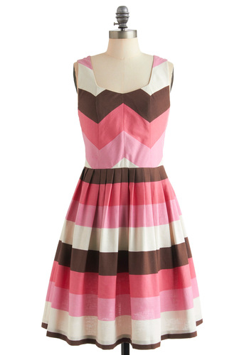 Strolling Through Sunday Dress by Knitted Dove - Mid-length, Brown, Stripes, Pleats, Fit & Flare, Pink, White, Pockets, Casual, Tank top (2 thick straps), Summer