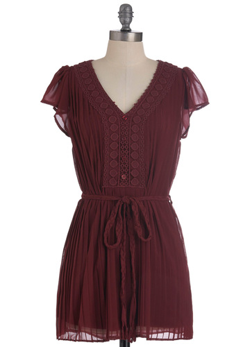 Exchanging Peasantries Tunic - Long, Red, Solid, Buttons, Pleats, Cap Sleeves, Belted, Crochet, Casual