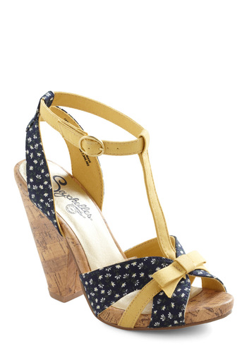 Knee Jerk Reaction Heel by Seychelles - Floral, Bows, High, Yellow, Blue, Party, Platform, Peep Toe, Chunky heel, Buckles, Better, T-Strap
