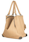 Publicity Photos Bag - Tan, Solid, Exposed zipper, Casual, Faux Leather