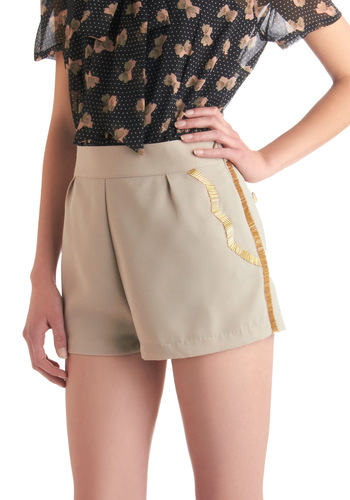 Bead Around Awhile Shorts - Tan, Solid, Beads, Scallops, Gold, Party, Short