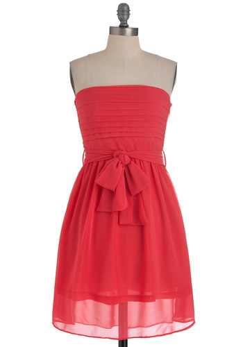 Ultra Marina Dress in Coral - Red, Solid, Pleats, Pockets, Wedding, Party, A-line, Strapless, Belted, Coral, Mid-length