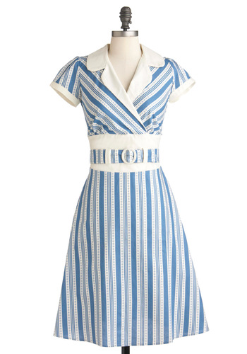 Cast-Iron of Characters Dress - Long, Blue, White, Print, Party, Vintage Inspired, Short Sleeves, Belted, Fit & Flare, 50s, Spring, Stripes, Casual