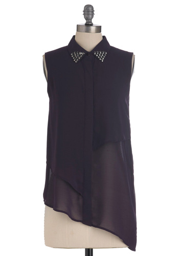 Rock n Roll Royalty Top - Mid-length, Purple, Solid, Studs, Sleeveless, Party, Girls Night Out, Sheer, Button Down, Collared