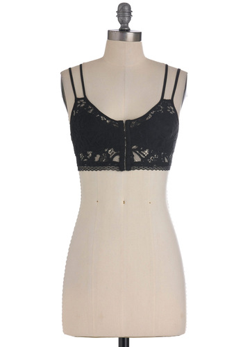 Classic Afternoon Bustier - Black, Solid, Lace, Casual, Pinup, Spaghetti Straps, Short
