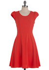 Rock Around the Frock Dress - Mid-length, Orange, Solid, Casual, A-line, Cap Sleeves