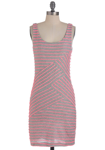 Come Bright In Dress - Mid-length, Pink, Grey, Stripes, Casual, Sheath / Shift, Tank top (2 thick straps), Summer