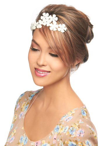 Ornate in Nature Headband - White, Solid, Flower, Rhinestones, Wedding, Fairytale, 20s, Daytime Party, Graduation