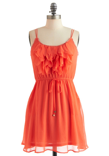 Sangria at Sunset Dress - Short, Orange, Solid, Pockets, Ruffles, Party, A-line, Spaghetti Straps, Summer