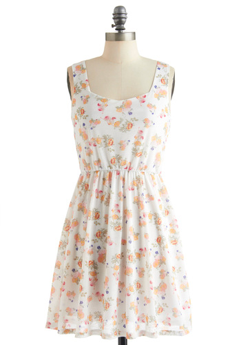 Light-hearted Lunch Dress - Mid-length, White, Multi, Floral, Casual, Summer, Multi, Backless, Tank top (2 thick straps), Fit & Flare, Pastel