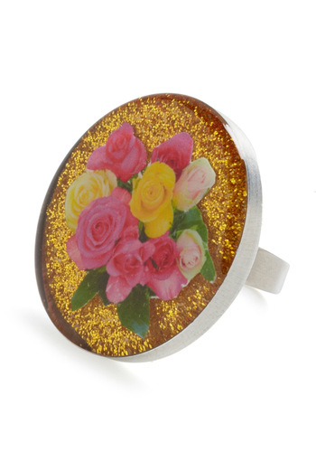 Sun, Water, and Sparkles Ring by Locketship - Yellow, Green, Pink, Statement, Glitter, Floral, Tis the Season Sale