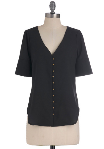 Historic Reservations Top - Short, Black, Solid, Buttons, Casual, Short Sleeves, Button Down, Steampunk, V Neck