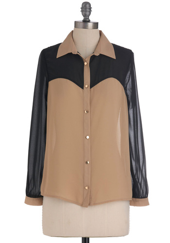 Life's Sand Adventures Top - Buttons, Long Sleeve, Sheer, Mid-length, Tan, Black, Work