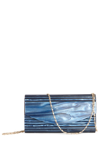 Waterway of Life Clutch - Blue, Solid, Chain, Party, Girls Night Out