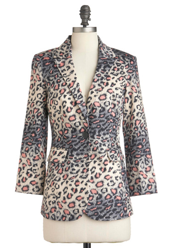 The Local Haute Spot Blazer - Pink, Black, Grey, Animal Print, Buttons, Pockets, Long Sleeve, Mid-length, White, Work, Safari, Girls Night Out, 1